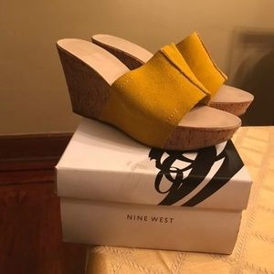 Yellow suede wedge sandals